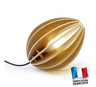 Lampe de chevet bois design Ovo