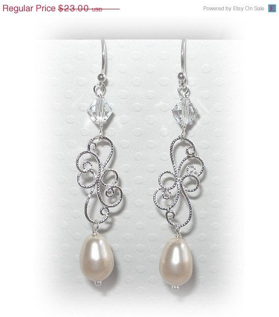 ON SALE NOW Silver Filigree Pearl Earrings Pearl by livelovebead, $20.24