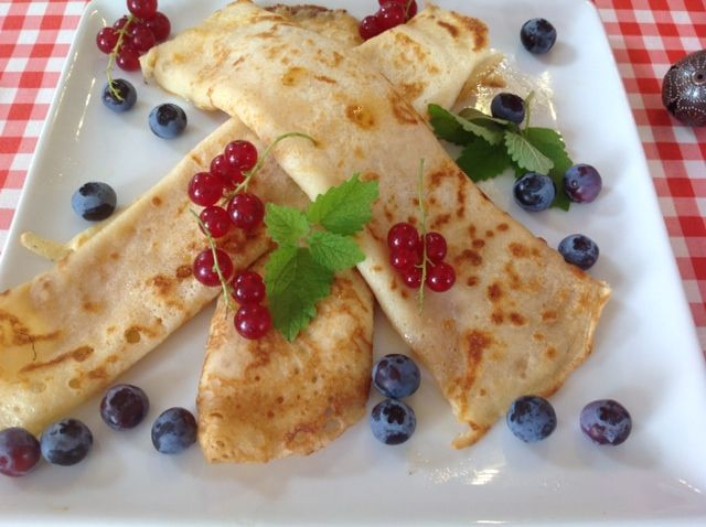 Crepes with fresh fruit of the season