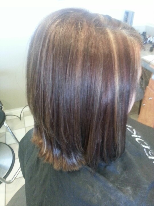 Chocolate Cherry With Blonde Highlights Hair Color