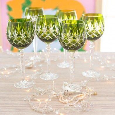 Gurasu crystal wine glasses and goblets including unique line coloured wine glasses. #crystal #gurasu #glassware #wineglasses #lime :-))))