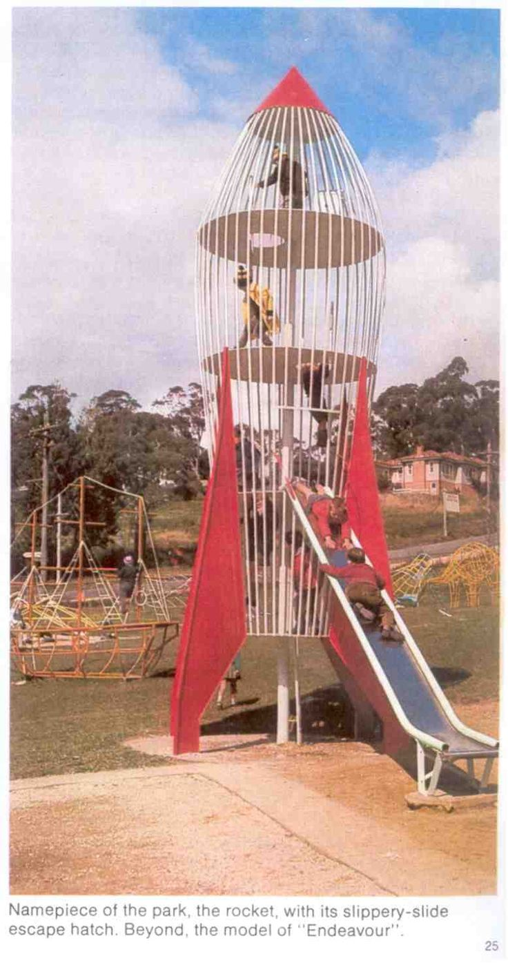 In 1961 Dick West acquired some plans from America and built a 30 foot high 'Moon Rocket' slippery dip, which was erected in Blackheath, Blue Mountains. It was so popular that over the next few years he built 37 more all over Australia. Dick built a variety of play equipment including a stage coach, submarine, old woman's shoe, elephant slippery dip, HMAS Endeavour, a space capsule, a Tiger Moth biplane, a vintage car and a dinosaur. These were installed in playgrounds across Australia.