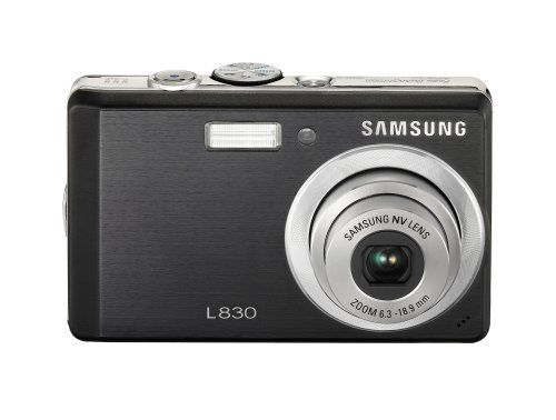 Samsung Digimax L830 8.1MP Digital Camera with 3x Optical Zoom (Black). 8.1-megapixel CCD captures enough detail for photo-quality 16 x 22-inch prints. 3x optical zoom with Advanced Shake Reduction (ASR); 2.5-inch LCD display. Face Detection detects up to nine faces and automatically adjusts for optimal focus and exposure. Fun feature allows shooters to composite photos, blur backgrounds, and add frames, stickers, or text bubbles. Stores images on SD memory cards (16MB internal memory...
