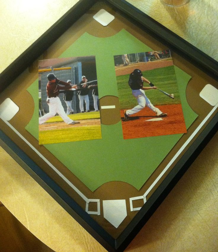 Shadow box I made for Jalon. #diy #boyfriend #baseball