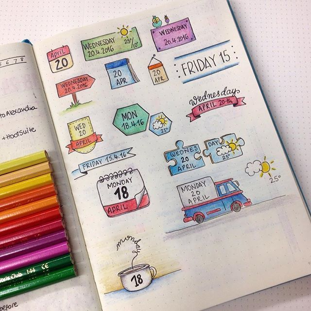 Creating another date header collection for future reference. I love it when my bullet journal looks so colourful! #bulletjournal #bujo #bulletjournaljunkies #dailyspread #planner #dateheader #calendar #colors #coloredpencils #doodles