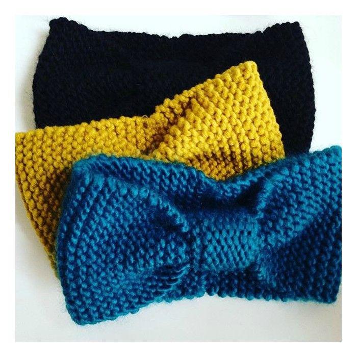 Tuto tricot facile pour tricoter rapidement un headband en laine alpaga Drops An…