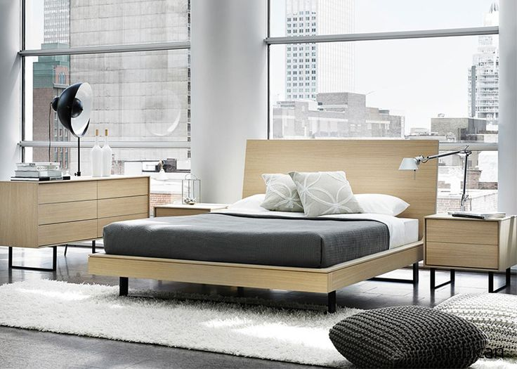 Ophelia modern wood bedroom collection by Mobican Furniture. Standard black metal legs. Available in several finishes on oak or walnut and optional color open shelves. Upholstered or wood headboards. Made in Quebec, Canada.