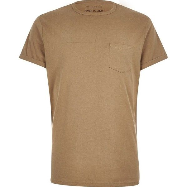 River Island Brown chest pocket t-shirt (€3,34) ❤ liked on Polyvore featuring men's fashion, men's clothing, men's shirts, men's t-shirts, brown, sale, mens tall t shirts, j crew mens shirts, mens brown t shirt and mens cotton shirts