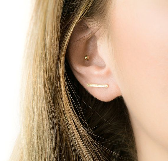 Gold Bar Earrings minimal bar earrings everyday gold by minimalGV