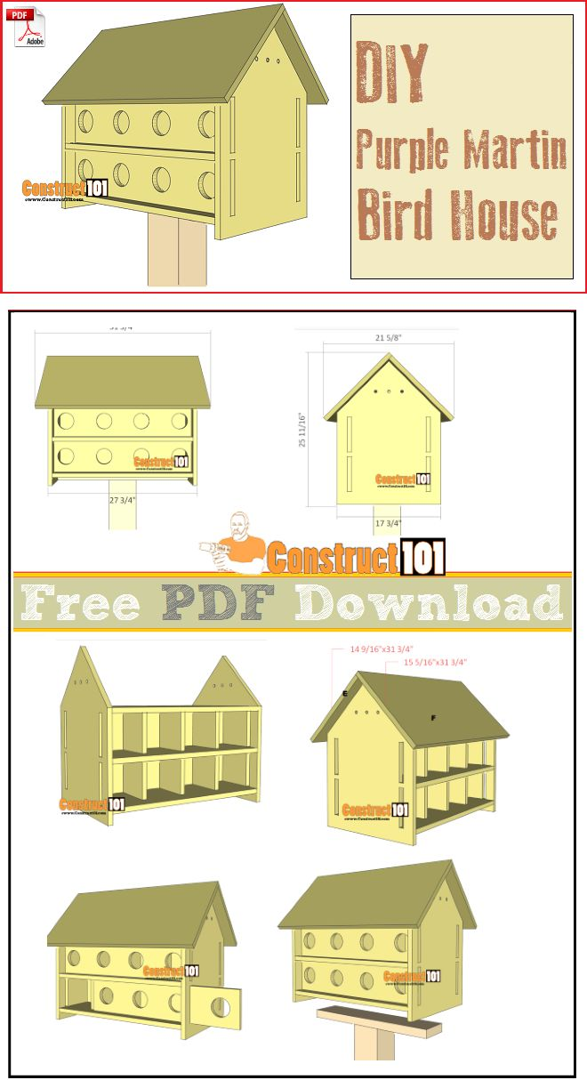 purple martin bird house plans 16 units pdf download - House Plans Free