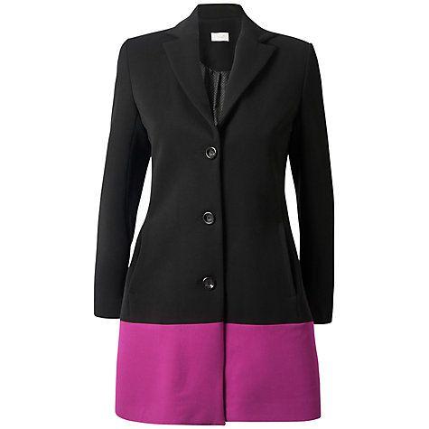 £43 Buy Almari Contrast Hem Coat, Black/Pink Online at johnlewis.com