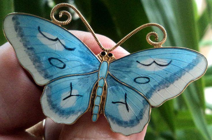 Norwegian Sterling Silver & Blue Enamel Butterfly Brooch - Finn Jensen Norway