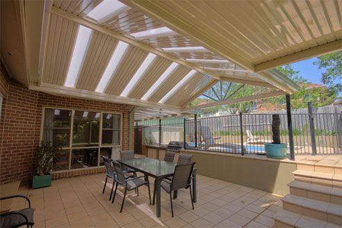Steel Framed Pergola. Half Colorbond Half Polycarbonate Roof