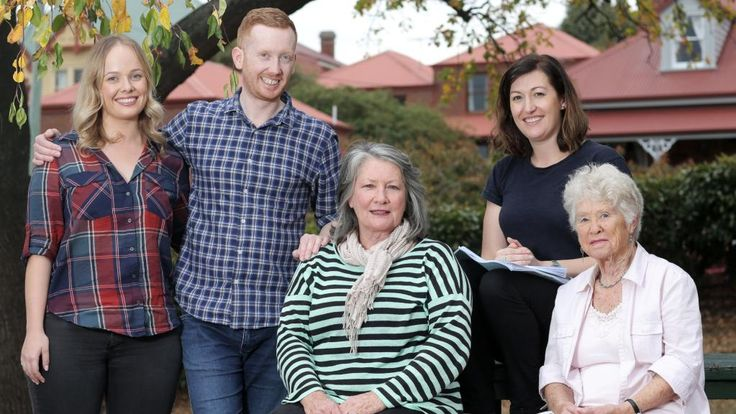 The cast of  <i>Rosehaven</i>, from left, Katie Robertson, Luke McGregor, Kris McQuade, writer and lead actor Celia Pacquola and Noela Foxcroft. Picture: LUKE BOWDEN