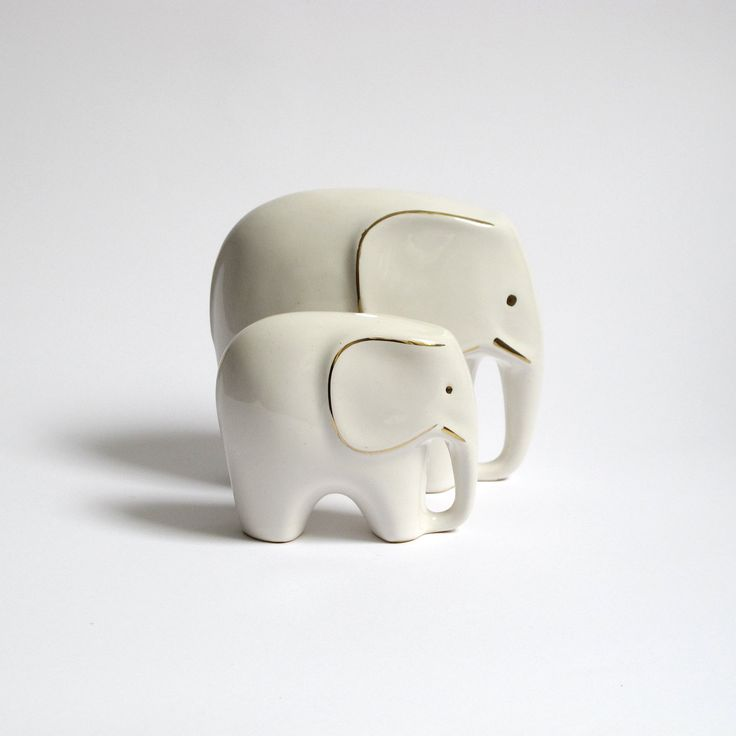Set of 2 Mid Century Elephant Figurines. White Ceramic Elephant Figurines.