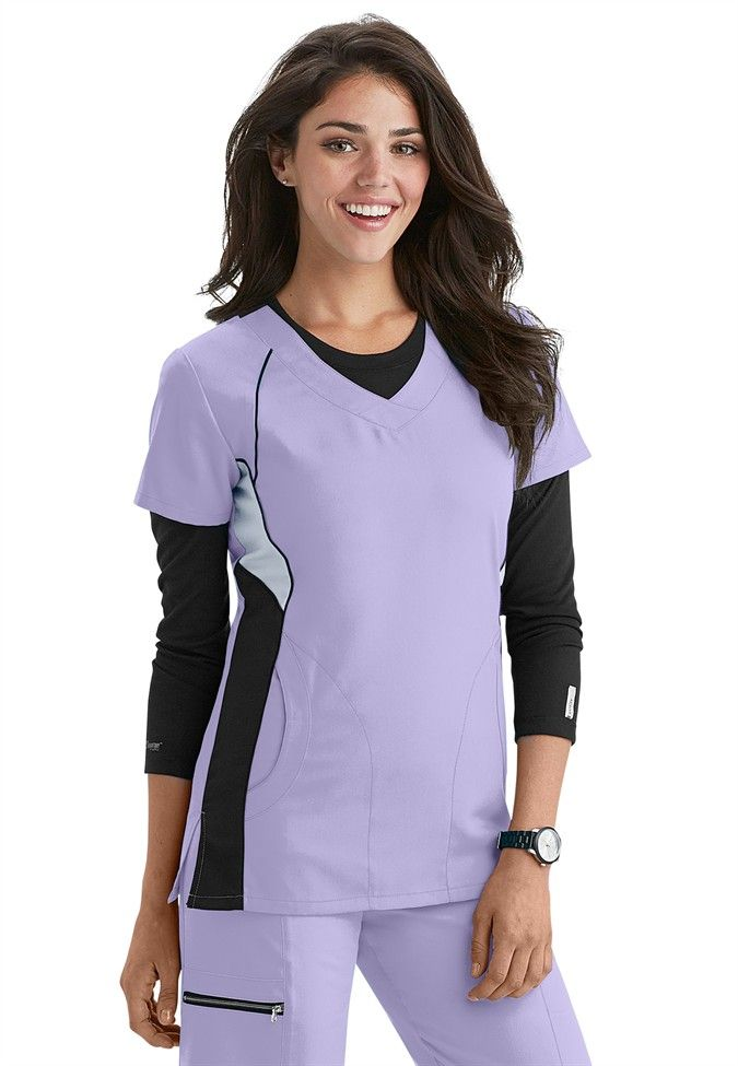 Greys Anatomy Active v-neck color block scrub top | Scrubs and Beyond #nurses #uniform #lilac