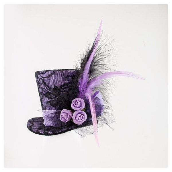Purple Mini Top Hat,Mad Hatter hat, Wedding hat, Burlesque hat, Alice... ❤ liked on Polyvore featuring hats, steampunk, accessories and gothic