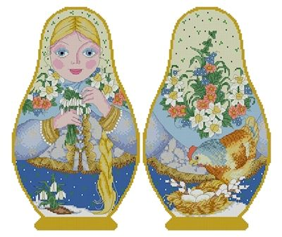 Counted Cross Stitch Russian Doll Matreshka Spring, two-sided design