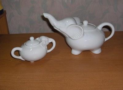 4 PC Pre Owned White Porcelain Elephant Teapot Lid Sugar Bowl Lid Nice | eBay