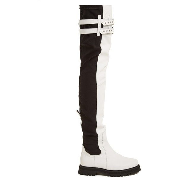 Marques'Almeida Thigh-high leather boots ($835) ❤ liked on Polyvore featuring shoes, boots, white black, black boots, over-knee boots, black over the knee boots, black leather over the knee boots and chunky black boots