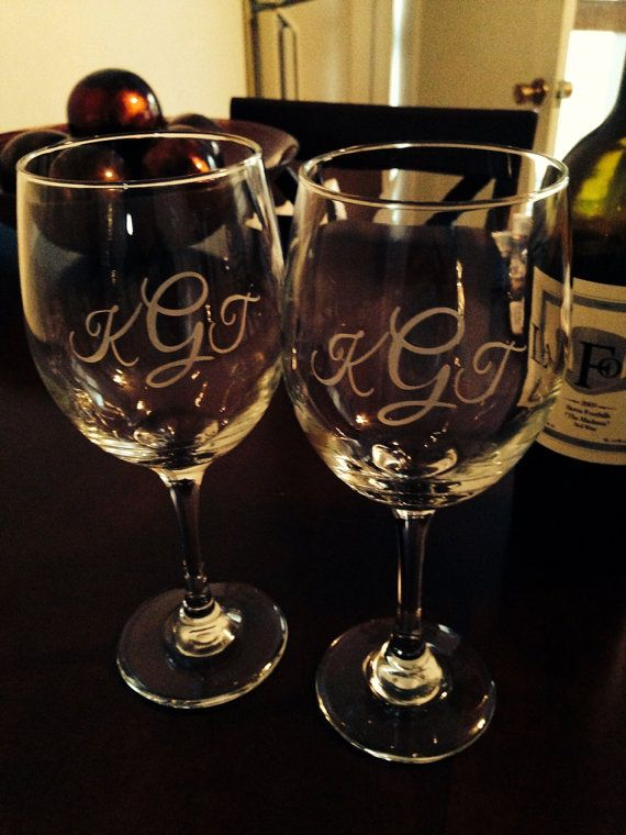 Monogrammed Wine Glasses Set of 2 Wedding by EtchedExpressions, $24.00