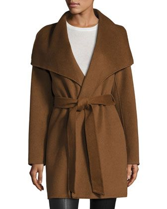 Wool-Blend Belted Wrap Coat, Vicuna by T Tahari at Neiman Marcus Last Call.