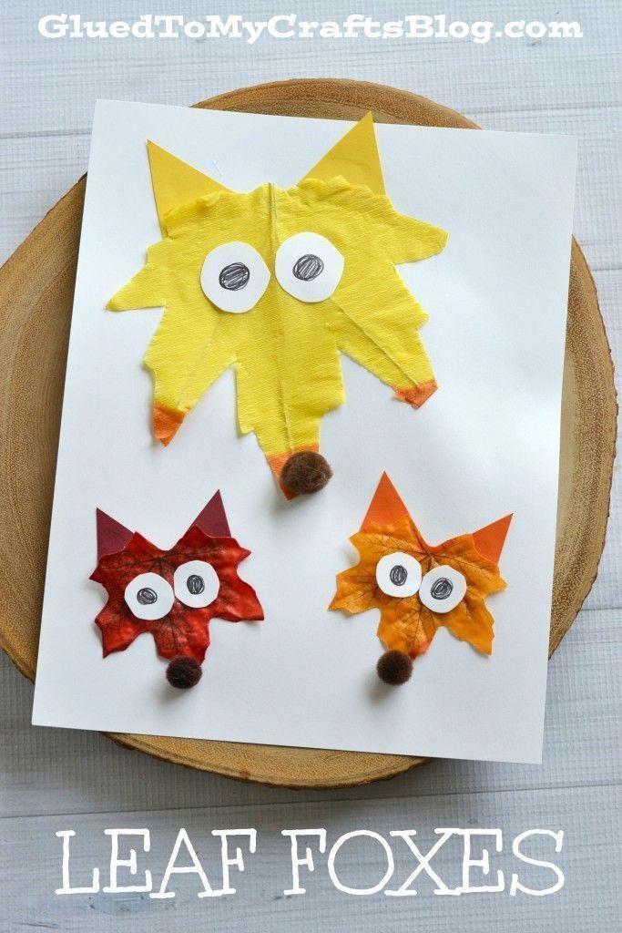 Popsicle Stick Fox Kid Craft Frunze Leaf Toamnă