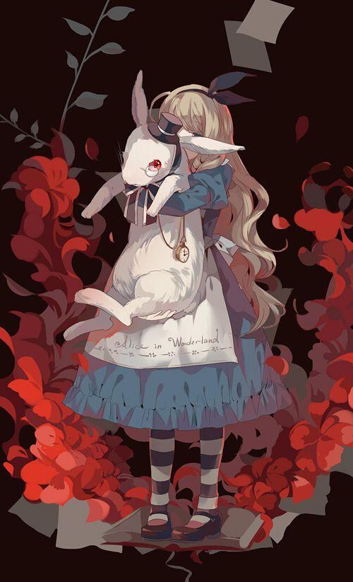 """Tags: """"animal"""" """"apron"""" """"blonde hair"""" """"blue eyes"""" """"book"""" """"dress"""" """"flower"""" """"hat"""" """"hug"""" """"long hair"""" """"megane"""" """"pantyhose"""" """"red eyes"""" """"ribbon"""" Source: """"Are You Alice?"""" Characters: """"Marianne"""" """"White Rabbit"""" Artist: """"Dhiea"""" . . . . El país de las pesadillas(opcional) Publicacion: wattpad. Tema: cuentos de terror basados en los clásicos cuentos infantiles. Autora: Ayano-chan Publicación: Proximamente"""