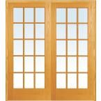 Milliken Millwork 72 in. x 80 in. Classic Clear True Divided 15-Lite Unfinished Pine Wood Double Prehung Interior French Door Z019959BA at The Home Depot - Mobile