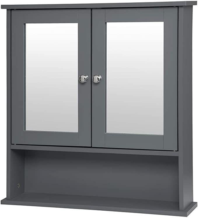 Eugad 0135wy armoire de toilette avec miroir meuble murale - Armoire a glace salle de bain ...