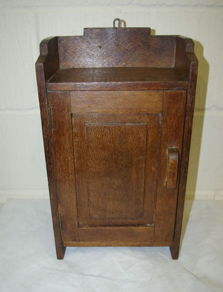 Vintage oak cabinet wall or free standing cupboard with for Antique free standing kitchen cabinets