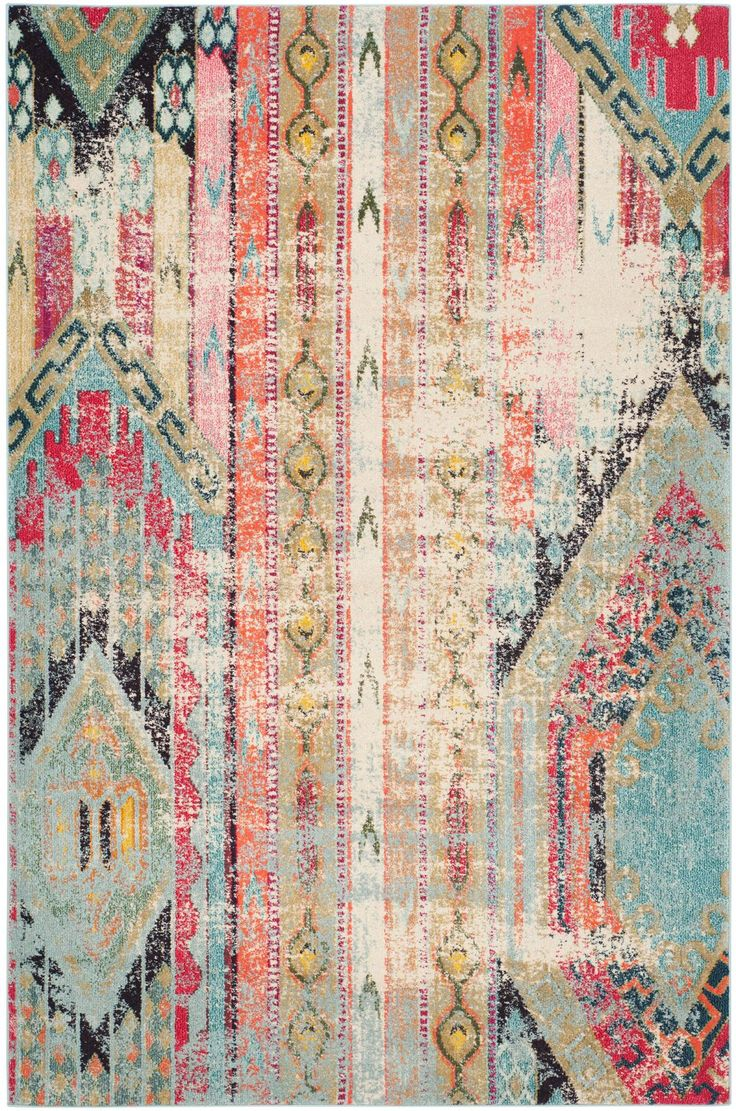 "This Safavieh Monaco area rug is our top choice for the room - it ties our color palette together from room to room, has the pre-faded look to hide dog wear and tear, and has a graphic boho pattern that adds the ""eclectic"" to the ""modern"" pieces we already have.  There's only one problem....I can't figure out where to buy it!"