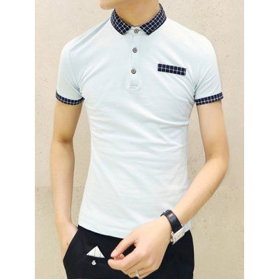 Slimming Plaid Print Personality Splicing Turn-down Collar Short Sleeves Men's Polo T-Shirt-19.77 and Free Shipping| GearBest.com