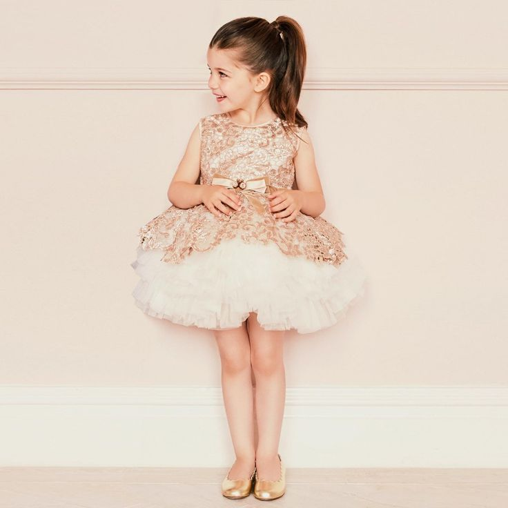 Lesy Luxury - Luxury Gold Sequin Lace & Ivory Tulle Dress | Childrensalon