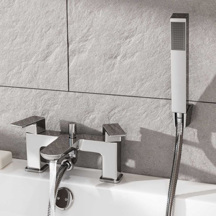 Atlin Bath Shower Mixer with Handheld Shower Head | Bath Tap - BathEmpire