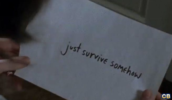 """Just Survive Somehow."" Enid left this paper to Carl Grimes in Alexandria ● Season 6 Episode 2 □ JSS 