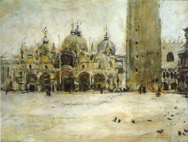 """St. Mark Square in Venice (study),"" by Valentin Serov, 1887, oil, 8.66"" x 12"". Collection the State Tretyakov Gallery, Moscow"