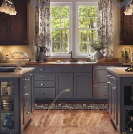 Upper Stained Lower Painted Cabinets Different Colors On