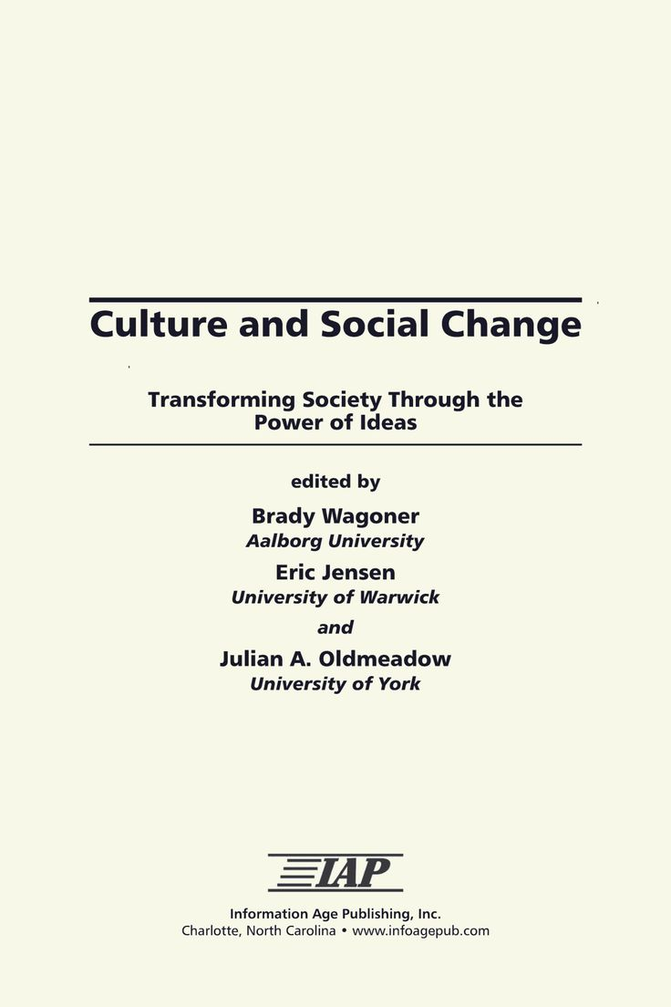 This book brings together social sciencists to create an interdisciplinary dialogue on the topic of social change as a cultural process. Culture is as much about novelty as it is about tradition, as much about change as it is about stability.