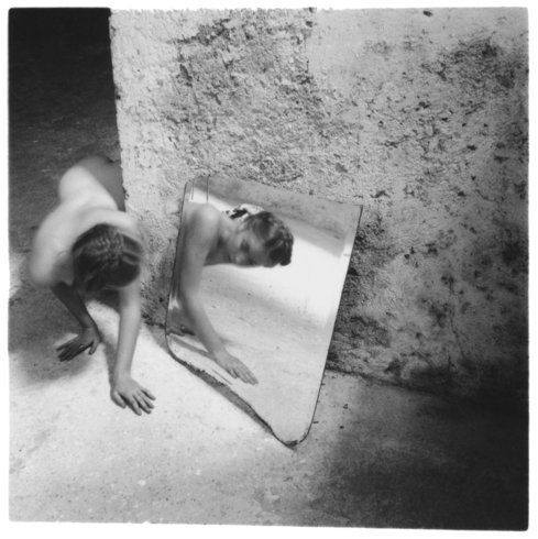 Yes, there are mirrors in the work of Francesca Woodman. A cliche, an homage, a recognition of photography itself being a similar reflection, or even a preoccupation with her own appearance? (Self-deceit #1, Rome, Italy, 1978)