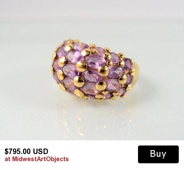 great #statement #ring natural #amethysts #18K solid #gold #Hallmarks #teamlove
