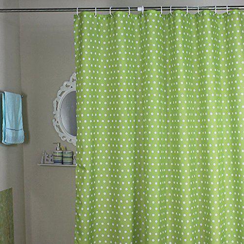 Weare Home Modern Stil Gr�n K�gelchen Wasserdicht Schimmelfest Polyester Stoff Duschvorhang, wasserdicht, Anti-Schimmel-Effekt, Kunststoff-Duschvorhang, 12 Haken zum Aufh�ngen,180cm x 200cm (B x H).