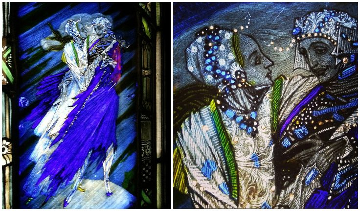 Detail of the Eve of St. Agnes, a stained glass work by Harry Clarke