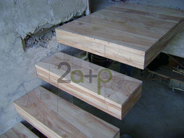 Escalera en m nsula voladizo recta en u la estructura - Peldanos de madera para escalera ...