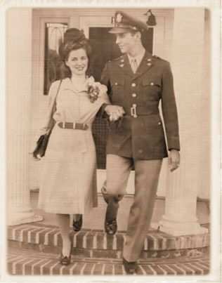 A beautiful young couple (possibly on their wedding day), 1940s.