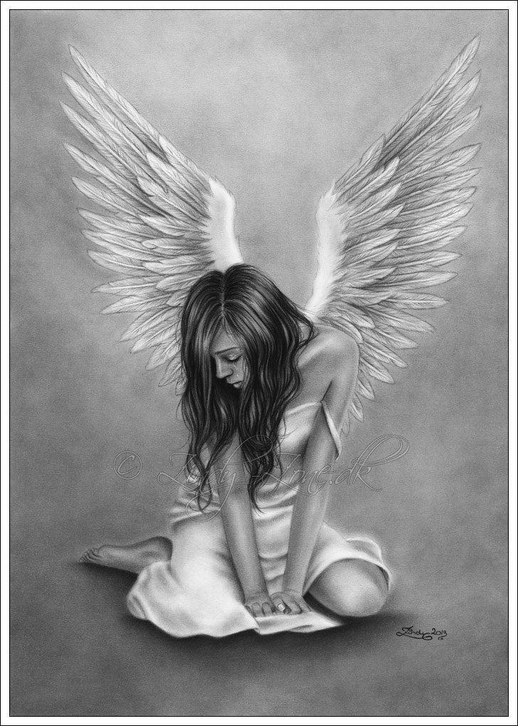 Affranto Angel Art stampa lucida fantasia Emo Girl di zindyzone