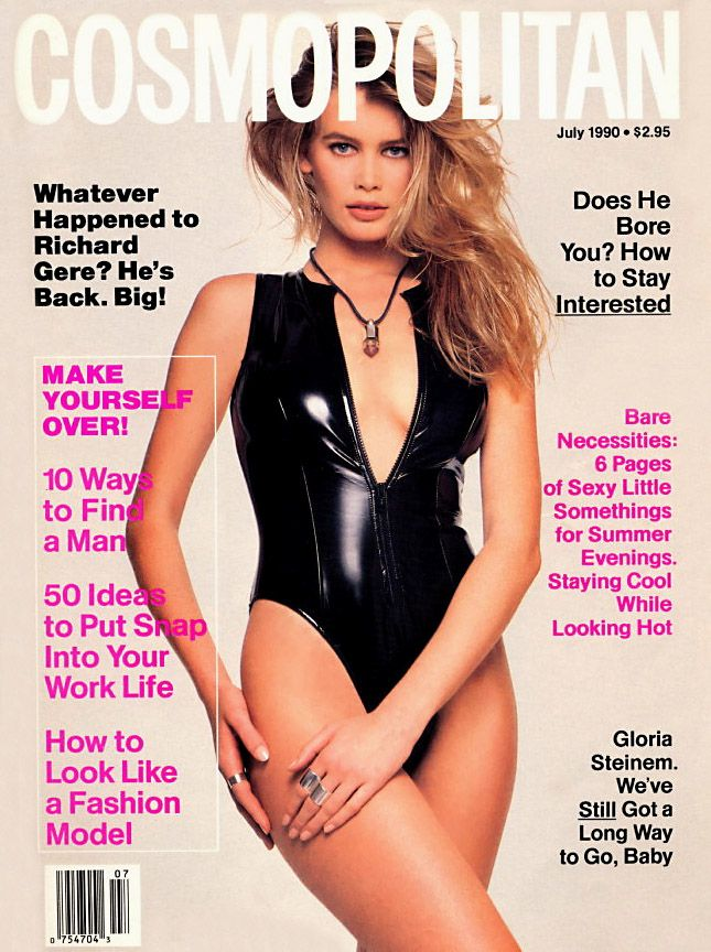 Cosmopolitan magazine, JULY 1990 Model Claudia Schiffer Photographer: Francesco Scavullo
