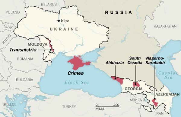 Map showing disputed areas near Russia -- Transnistria, Crimea, Abkhazia, South Ossetia, and Nagorno-Karabakh.