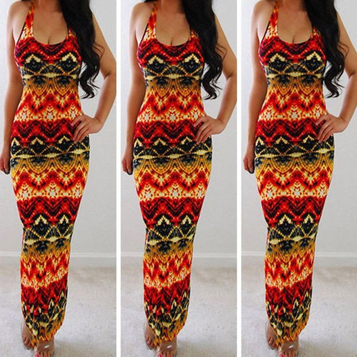 BOHO Bodycon Evening Party Beach Long Maxi Sundress Dress