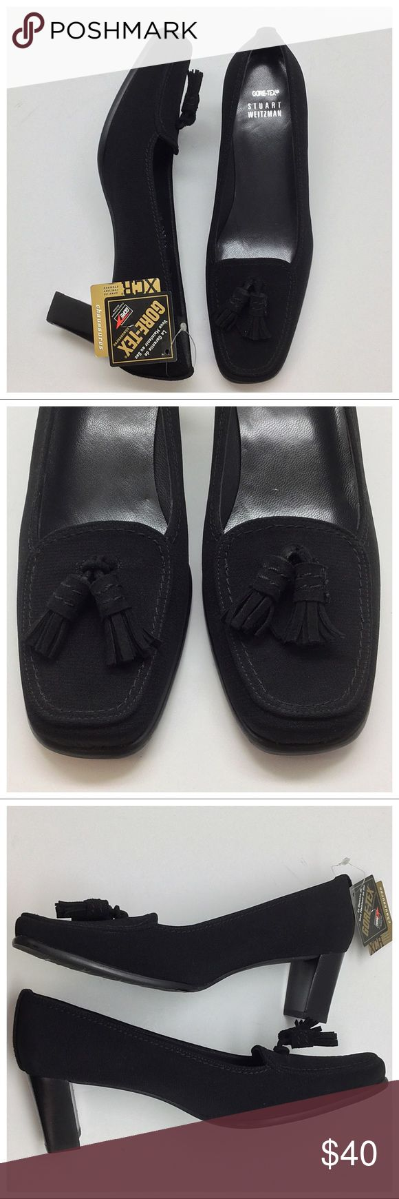 "☔️ Stuart Weitzman Waterproof Pump ☔️ 🚫Trades/Holds🚫 SW Pumps *  Black fabric w/ Gore-Tex for waterproofing *  Suede tassels & heel panel *  Rubber sole w/ logo *  Marked size 7 ½ W, measures 10 1/4"" from toe-heel along footbed, 3 ¼"" across widest part of sole, *  'W' usually means wide but I think these are medium/average width: 3 1/4"" width is considered medium *  Never worn, Gore-Tex tag still attached but 1 heel has faint scuff from storage Plz ask ?s if unsure of anything, esp. about…"